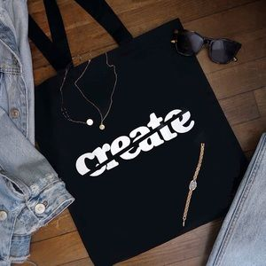 "Handbags - Black Tote Bag - ""Create"""